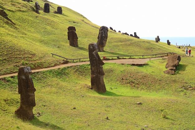 The slope full of abandoned giant moai statues of rano raraku volcano, easter island, chile Premium Photo
