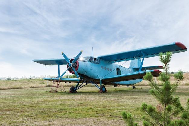 Small airplane. propeller close-up photo Premium Photo