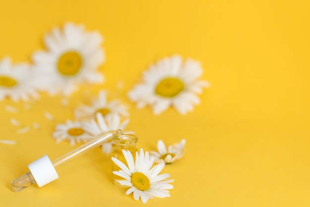 Small bottle of cosmetic chamomile oil and wooden hair comb Premium Photo