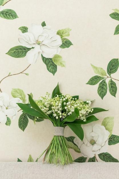 은방울꽃 꽃의 작은 꽃다발. 프리미엄 사진