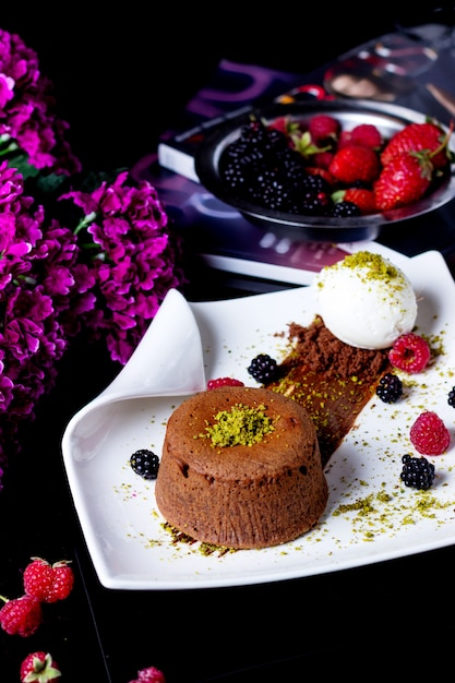 Small chocolate cake garnished with pistachio served with ...