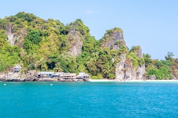 A small fishing village on the langka jew island it is located in the gulf of thai, chumphon province, thailand Premium Photo