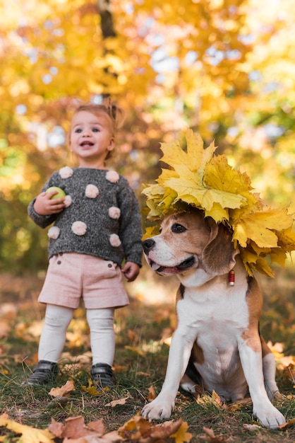 Small girl standing near beagle dog wearing autumn leaf hat in forest Free Photo
