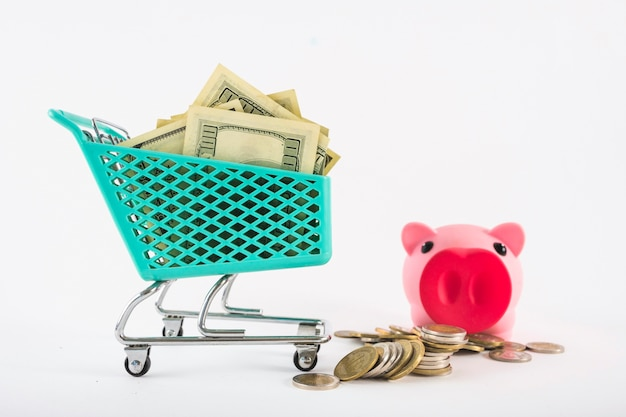 Small grocery cart with money and piggy bank Free Photo