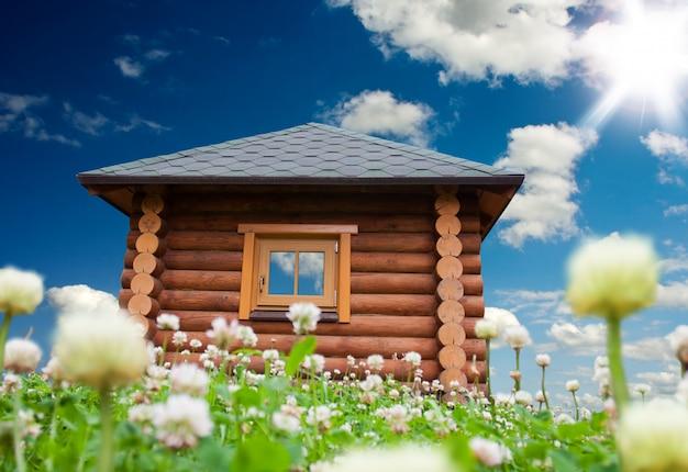 꽃 초원에 작은 집 프리미엄 사진