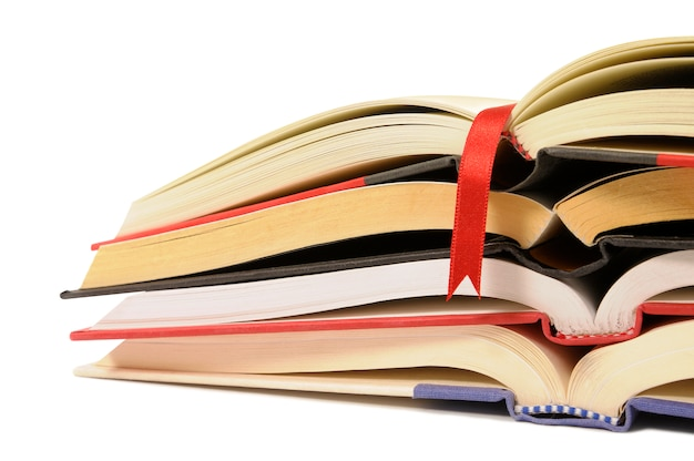Small pile of open books Free Photo