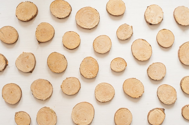 Small pine wooden circles pattern. wooden saw cut isolated on white background Premium Photo