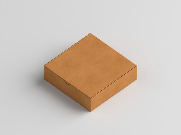 白い背景のハイビューの小さなピザボックス 無料写真