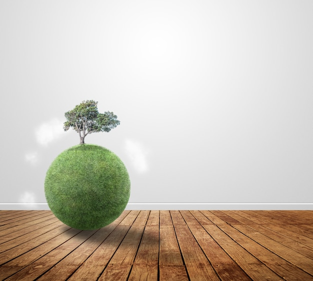 Small planet with a tree on wood Free Photo