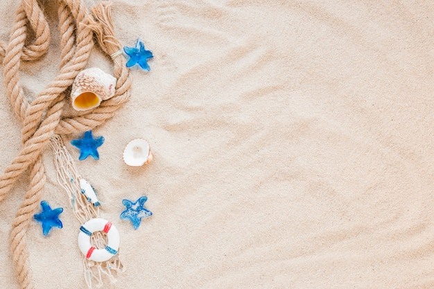 Small sea shells with nautical rope on sand Free Photo