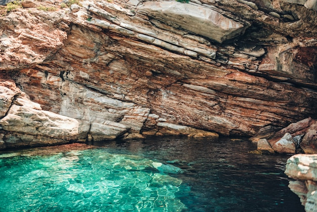Small shallow cave in thassos, greece Premium Photo