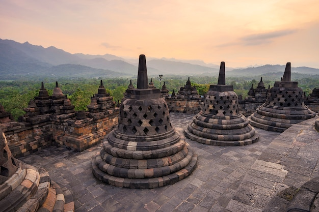 Small stupa in borobudur, buddist temple in yogyakarta, indonesia Premium Photo