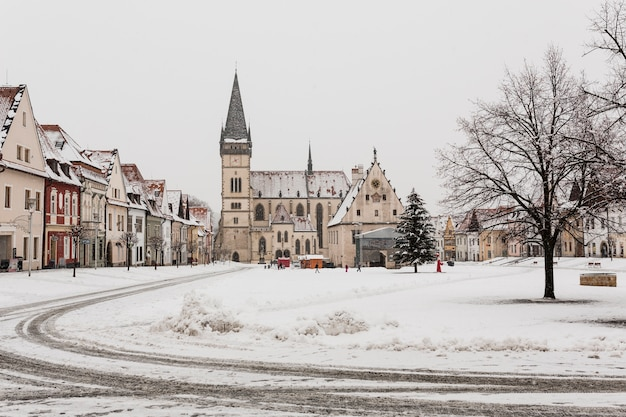 Small town in snow Free Photo
