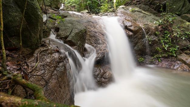 野生の小さな滝長時間露光画像。 Premium写真