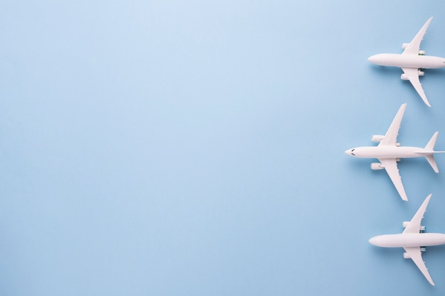 Small white airplanes ready for starting flight Free Photo
