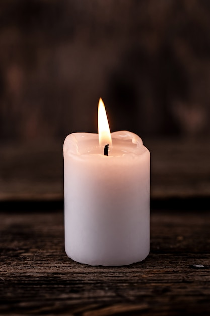 Small white candle Free Photo