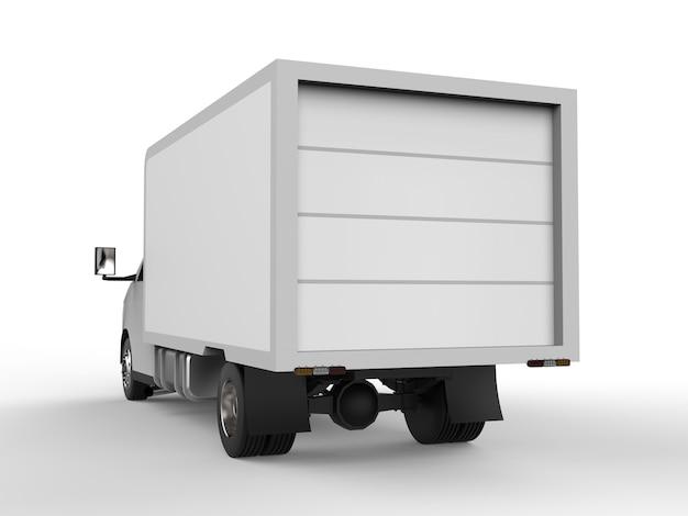 Маленький белый грузовик. служба доставки автомобилей. доставка товаров и продуктов в торговые точки Premium Фотографии