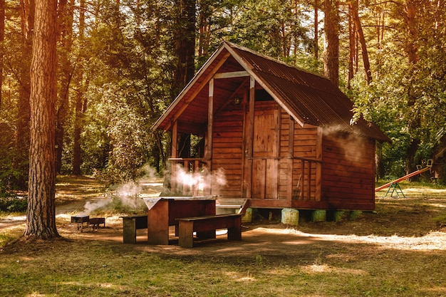 レクリエーション、森でのキャンプ、自然の中でのバーベキューのための松林の小さな木造住宅 Premium写真