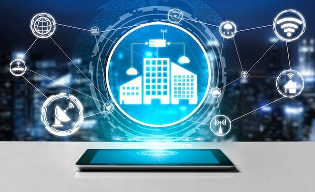 Умный город и концепция интернет-технологий. Premium Фотографии