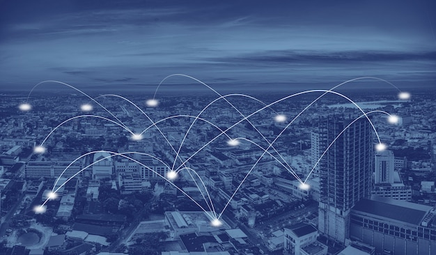 Smart city and communication network Premium Photo