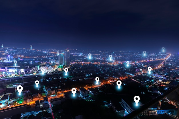 Smart city with checkpoints  communication network Premium Photo