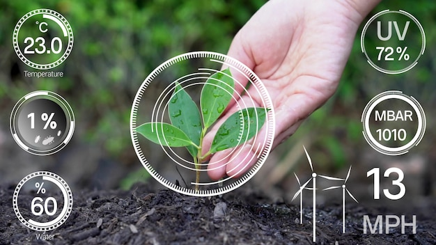 Smart digital agriculture technology by futuristic sensor data collection Premium Photo