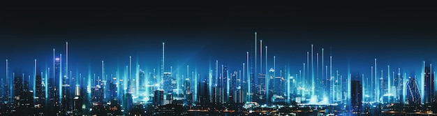 Smart network and connection technology concept with bangkok city at night in thailand, panorama view Premium Photo