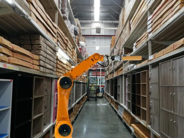 Smart robot industry arm products storage factory and warehouse Premium Photo