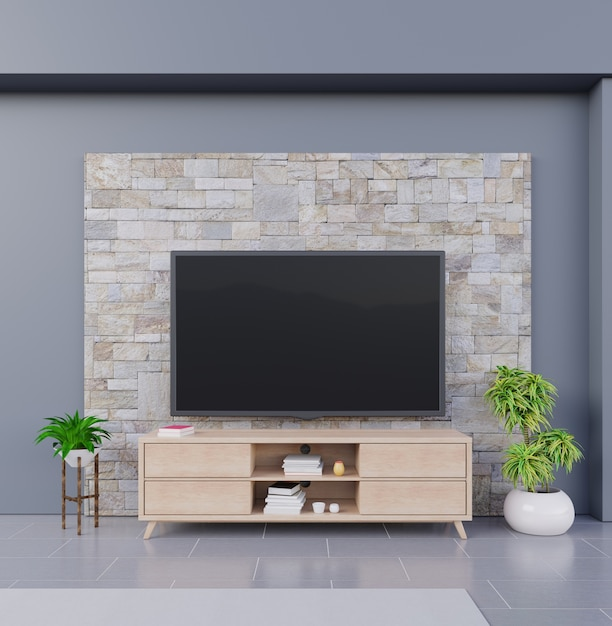 Premium Photo Smart Tv On Brick Wall Background With Wooden Cabinet And Plants