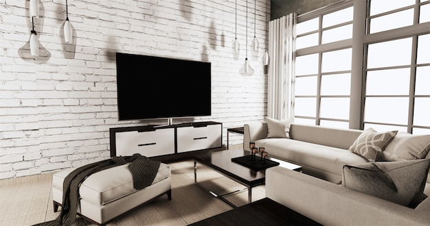 Premium Photo Smart Tv On Cabinet In Living Room With White Brick Wall On Wooden Floor And Sofa