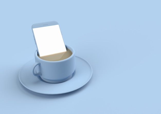 Smartphone in coffee milk in pastel blue color with copy space for your text. minimal concept 3d render Premium Photo
