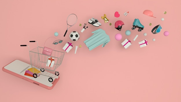 Smartphone to enter content surrounded by shopping bags, shopping carts, 3d rendering Premium Photo