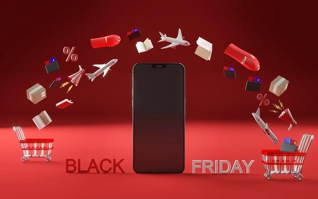 Icona dello smartphone per l'evento del venerdì nero Foto Gratuite