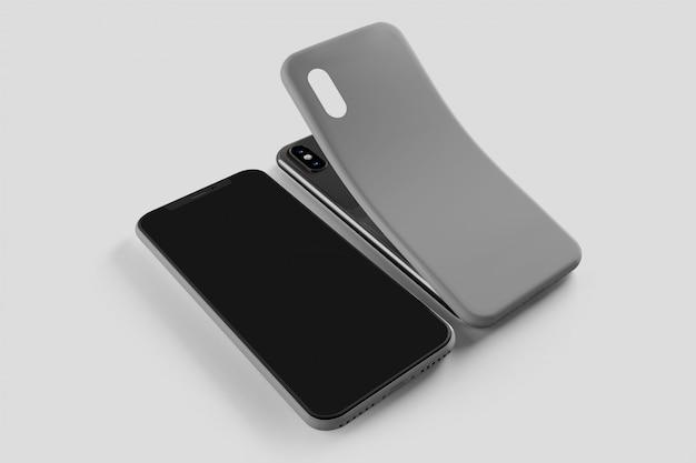 Smartphone screen and case mockup, 3d rendering Premium Photo