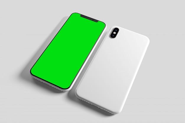 Smartphone screen and case mockup - 3d rendering Premium Photo