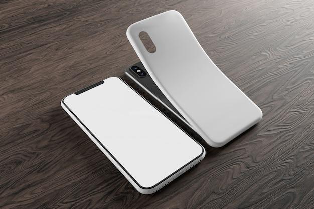Smartphone screen and case mockup Premium Photo