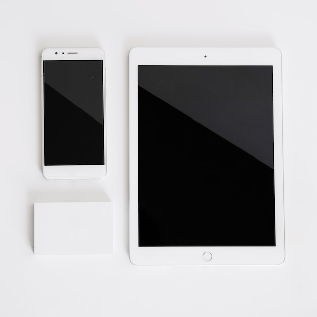 Smartphone, tablet and business card mockup Free Photo