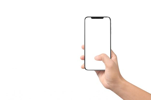 Укомплектуйте личным составом руку держа устройство smartphone и касающий экран Premium Фотографии
