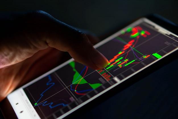 Диаграмма подсвечника касания человека от фондовой биржи на smartphone Premium Фотографии