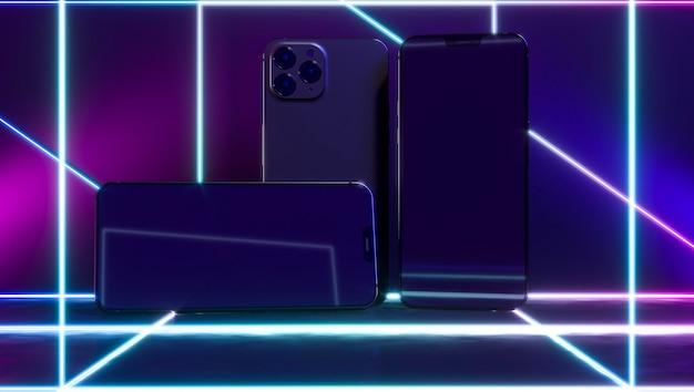 Смартфоны с неоновыми световыми линиями Бесплатные Фотографии