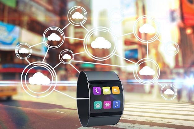 Smartwatch showing colorful icons Free Photo