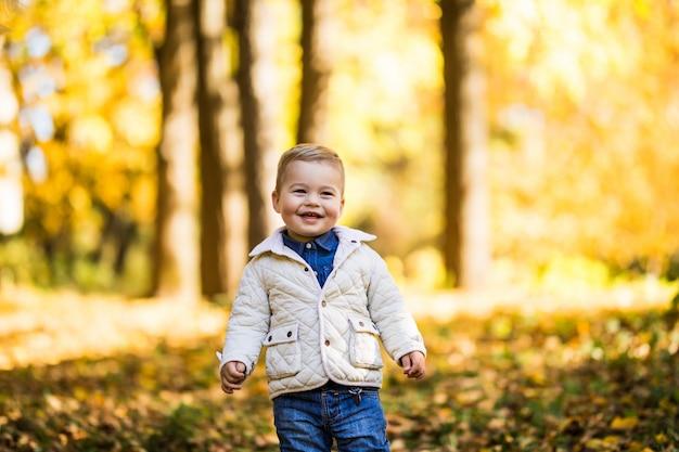 Sorriso ragazzino sveglio che sta vicino all'albero nella foresta di autunno. ragazzo che gioca nella sosta di autunno. Foto Gratuite