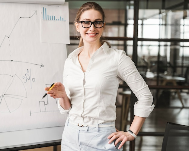 プレゼンテーションを行う眼鏡をかけたスマイリープロの実業家 無料写真