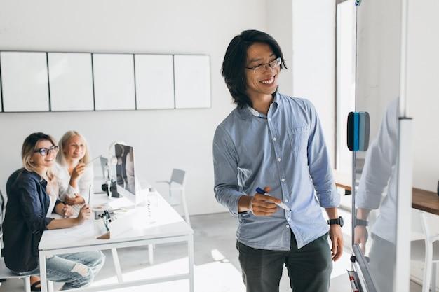 Sorridente asiatico sviluppatore freelance disegno piano d'azione della lavagna a fogli mobili. dirigenti femminili giovani biondi che esaminano il collega straniero che scrive qualcosa a bordo. Foto Gratuite
