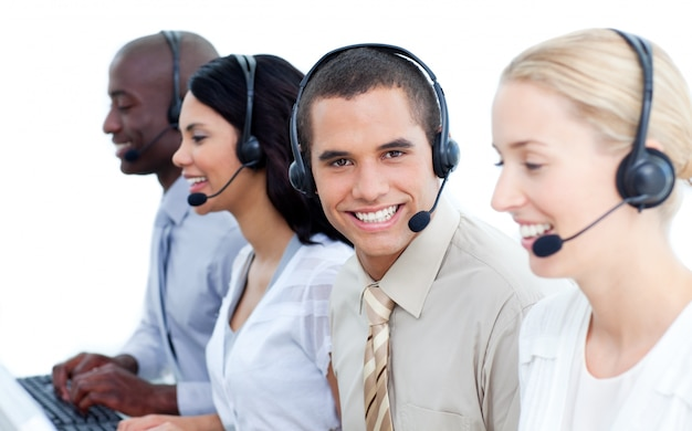 Smiling Business Team Talking On Headset Photo Premium