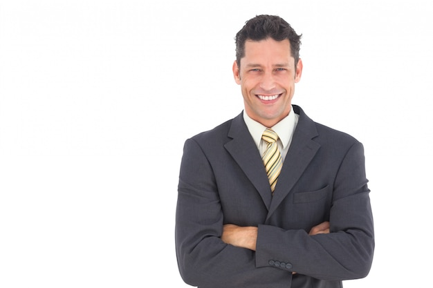 Smiling Businessman With Crossed Arms Photo Premium Download