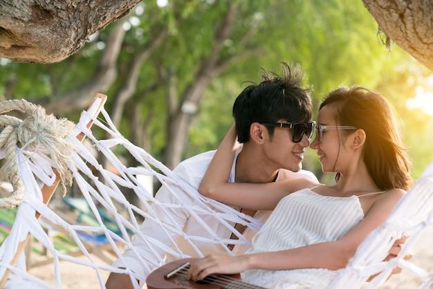 Smiling couple in love outdoors Premium Photo