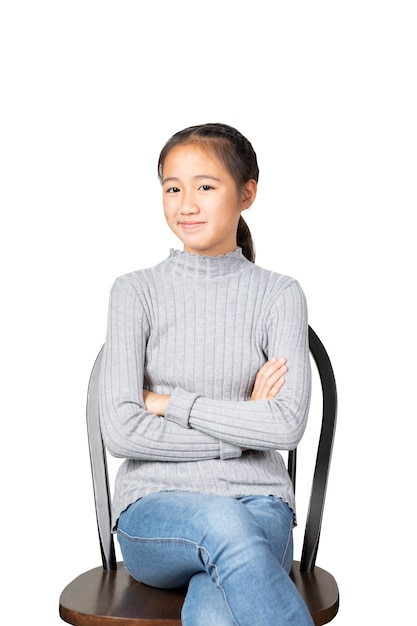 Smiling face of cheerful asian teenager isolated white background Premium Photo