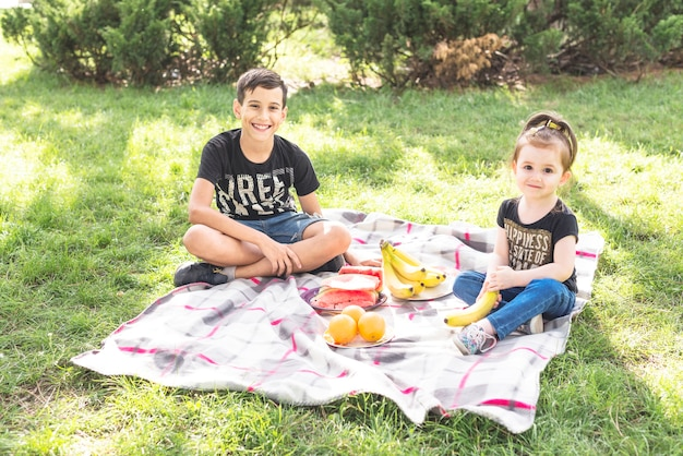 Smiling girl and boy sitting on blanket over the green grass with fruits Free Photo
