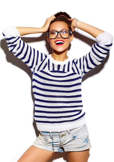 Smiling girl with red lips and glasses Free Photo